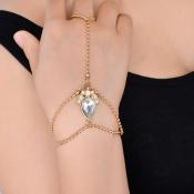 Mode Strass Dekoratives Gold Metall Armband