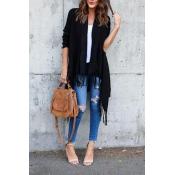 Leisure Tassel Design Black Cotton Cardigans