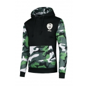 Leisure Camouflage Printed Patchwork Black Cotton