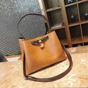 Stylish Lock Catch Design Brown PU Shoulder Bags