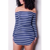 Euramerican Dew Shoulder Striped Blue-white Milk Fiber Sheath Mini Dress