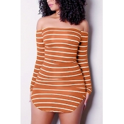 Euramerican Dew Shoulder Striped Orange-Mini vestido de bainha de fibra de leite branco