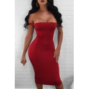 Sexy Lace-up Hollow-out Red Milk Fiber Sheath Knee Length Dress