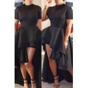 Elegante collar de mandarín asimétrico Falbala diseño negro poliéster medio vestido de pantorrilla