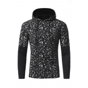 Leisure Hooded Collar Long Sleeves Patchwork Black