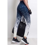 Leisure Elastic Waist imprimé Blue Polyester Leggi