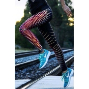 Leisure Elastic Waist Printed Red Polyester Leggin