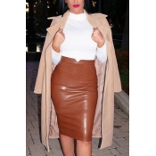 Trendy High Waist Coffee Leather Sheath Knee Length Skirts