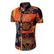 Blending Turndown Collar Short Sleeve Print Men Cl