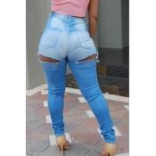 denim Solid Zipper Fly High Regular Pants Jeans