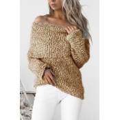 Knitting Bateau Neck Long Sleeve Regular Pullovers