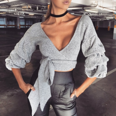 Casual V Neck Long Sleeves Lace-up Grey Cotton Pullovers