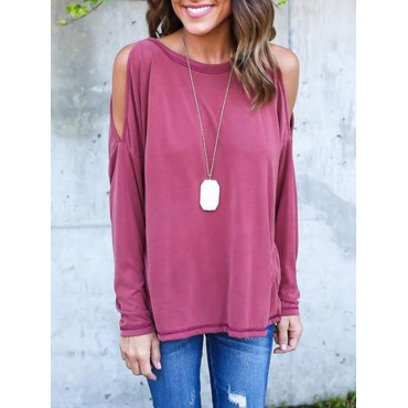 Leisure Round Neck Long Sleeve Hollow-out Rose Red Cotton Blouses