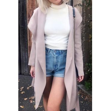 Pink Big Lapel Long Wool Coat