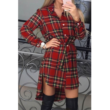 That Be High Low Plaid Shirt Dress(Non Positioning Printing)