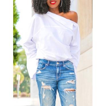 Trendy Dew Shoulder White Imitated Silk Shirts