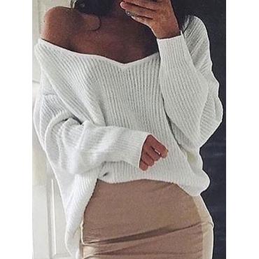 Trendy V Neck Long Sleeves Asymmetrical White Cotton Blends Sweaters