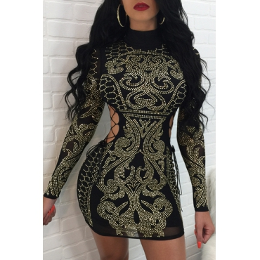Sexy Hollow-out Rhinestone Decorative Black Polyester Mini Dress