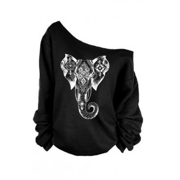 Leisure Dew Shoulder Elephant Printed  Black Polyester Pullovers