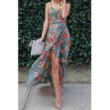 Milk Fiber Fashion V Neck Spaghetti Strap Sleeveless Waist skirt Ankle Length Dresses