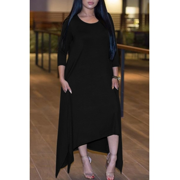 Leisure Round Neck Half Sleeve Asymmetrical Black Polyester Ankle Length Dress