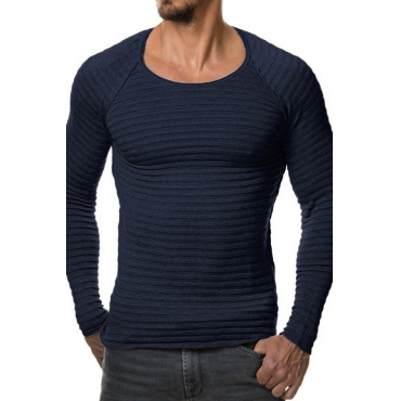 Euramerican Round Neck Long Sleeves Navy Blue Acrylic Sweater
