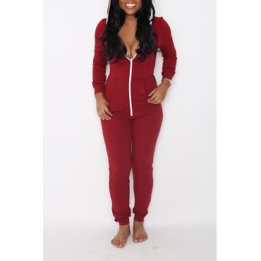 Leisure V Neck Zipper Design Red Cotton One-piece Jumpsuits