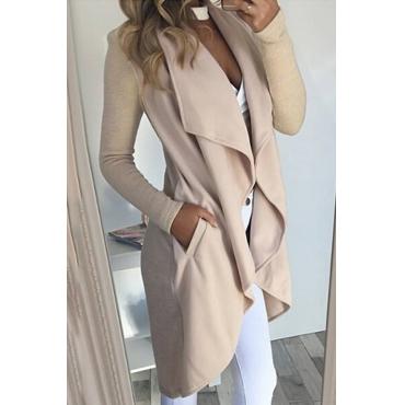 Euramerican Turndown Collar Asymmetrical Apricot Cotton Long Coat