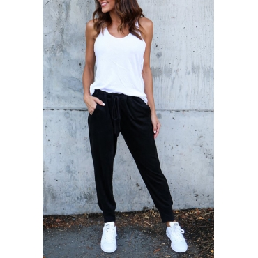 Leisure Elastic Waist Lace-up Black Polyester Pants