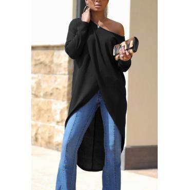 Leisure Dew Shoulder Long Sleeves Asymmetrical Black Cotton Shirts