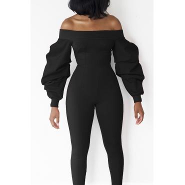 Trendy Dew Shoulder Lantern Type Long Sleeves Black Polyester One-piece Jumpsuits