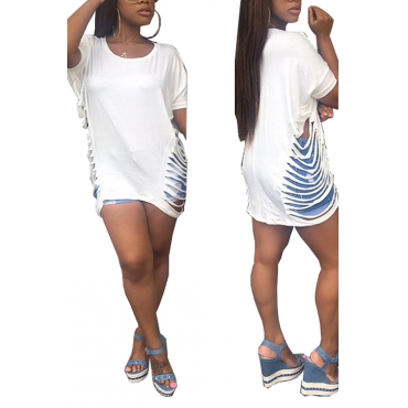 Leisure Round Neck Short Sleeves Hollow-out White Blending T-shirt