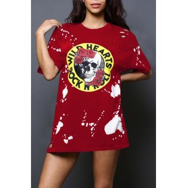 Leisure Round Neck Skull Printing Wine Red Polyester Mini Dress