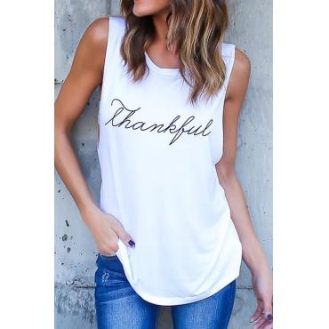 Sleeveless Letter Printing T-shirt