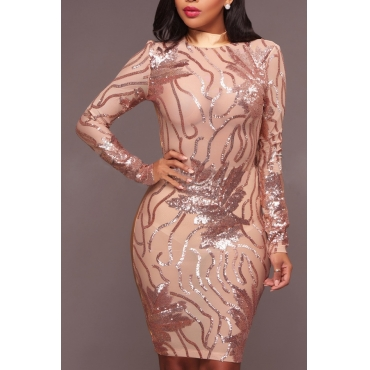 Sexy See-Through Gauze Patchwork  Gold Sequined Sheath Knee Length Dress