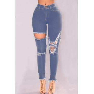 Euramerican Hihg Waist Broken Holes Blue Denim Pants