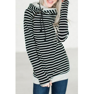 Leisure Long Sleeves Striped Black Polyester Pullovers