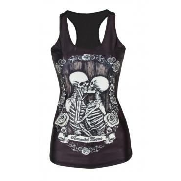 Leisure Round Neck Skull Printing Black Polyester Tank Top