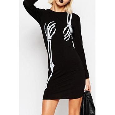 Leisure Round Neck Skull Printing Black Cotton Blend Mini Dress