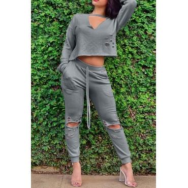 Leisure V Neck Long Sleeves Broken Holes Grey Blending Two-piece Pants Set