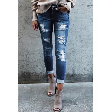 denim Solid Zipper Fly Mid Skinny Pants Jeans