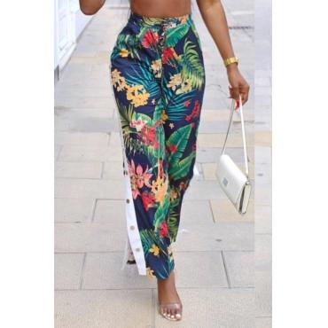 Polyester Print Elastic Waist Mid Straight Pants Pants