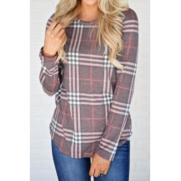 Lovely Leisure Round Neck Plaids Brown Cotton Blends T-shirt