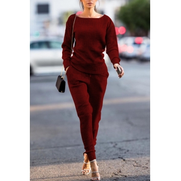 Red Cotton Pants Plain O neck Long Sleeve Casual Two Pieces