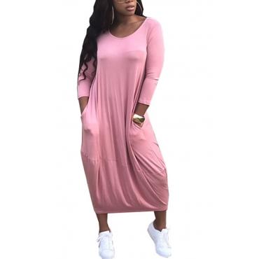 Polyester Casual O neck Cap Sleeve Long Sleeve Lantern skirt Mid Calf Dresses