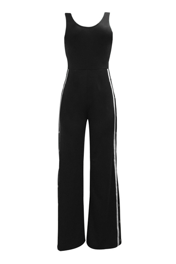 Sexy Side Split Black Polyester One-piece Jumpsuits