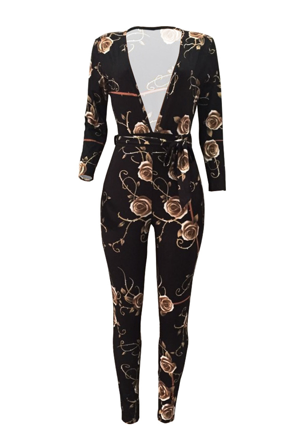 Fashion V Neck Floral Print Black Polyester One-piece Jumpsuits