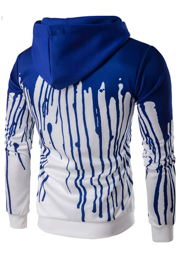 Euramerican Printed Blue Polyester Hoodies men's clothes