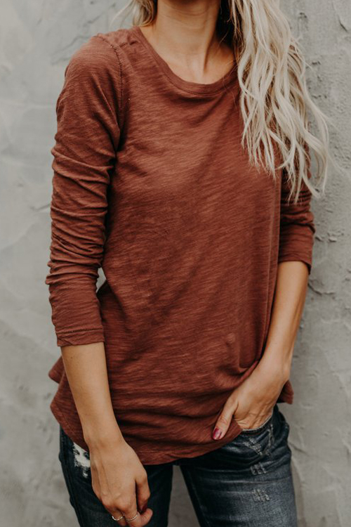 Lovely Leisure Round Neck Long Sleeves Red Cotton T-shirt