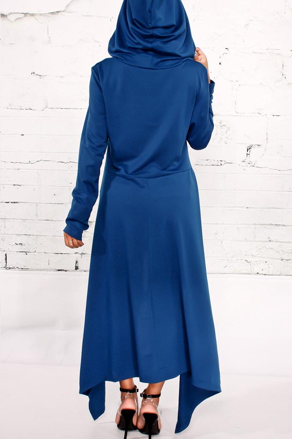 Досуг шею длинными рукавами синий хлопок смеси пуловеры